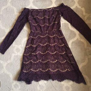 Beautiful plum lace off the shoulder dress